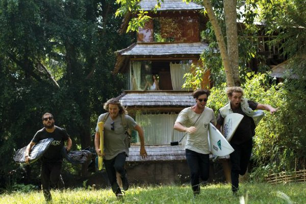 From left, Globe Team Riders Dion Aguis, Nate Tyler, Brendon Gibbens and Creed McTaggart in Strange Rumblings in Shangri La.