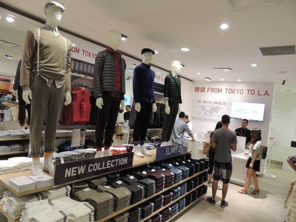 Interior of Beverly Center's Uniqlo pop-up.