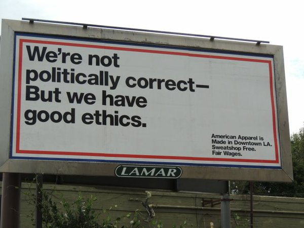 An American Apparel billboard on the corner of San Vicente Boulevard and South Cochrane Avenue in Los Angeles.