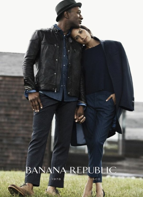 Aloe Blacc, left, with Maya Jupiter in Banana Republic's Fall campaign. Image courtesy of Banana Republic.