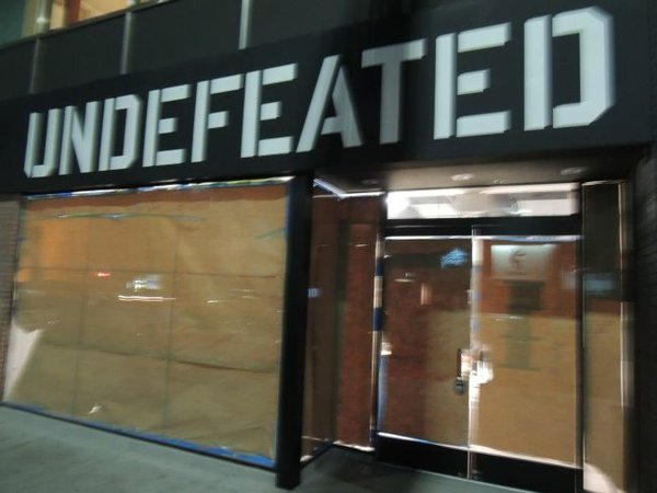 Sign already posted for upcoming Undefeated shop at District LaBrea.