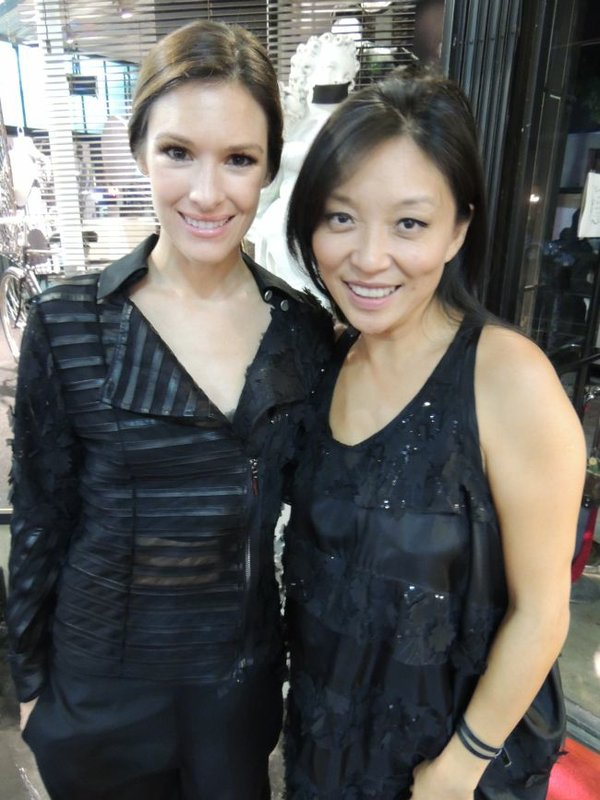 Amanda Shi-Werts, right, and Model Kendra Mate. Both dressed in Amanda Shi.