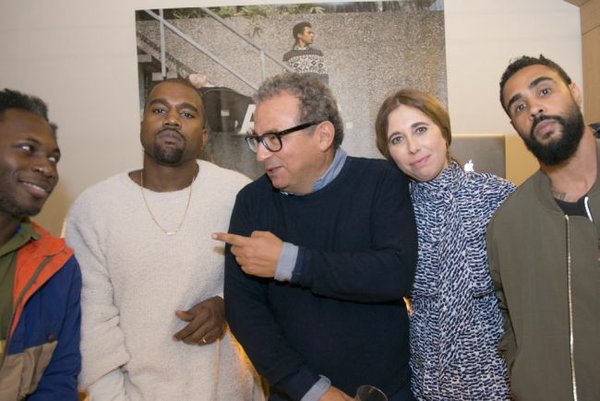 Kanye West, Jean Touitou, Judith Touitou and Jerry Lorenzo of the Fear of God brand. Man to West's left not identified. Photo courtesy of A.P.C.