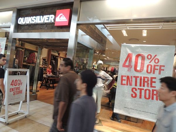 THE DOORBUSTER:  A Quiksilver boutique at South Coast Plaza offered  discounts of 40 percent during Black Friday weekend. But many retailers offered deeper discounts during the weekend.