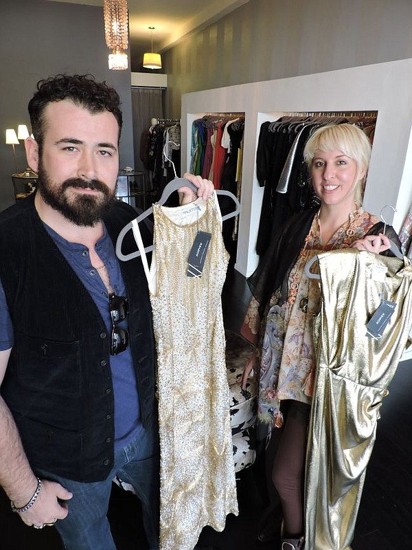 Jason Lyon, left, and Bridgette Morphew of Morphew at their red carpet pop-up shop at Bustown Modern.