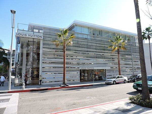 A look at Louis Vuitton's Rodeo Drive flagship from the corner of Rodeo Drive and Dayton Way.