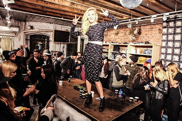 Ashley Smith takes RVCA's pop-up shop. Photo by Zac Sebastian.