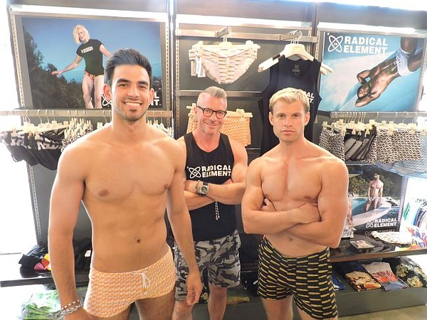 Showing Radical Element looks are from left, Gregory Cooke, LASC employee, Chad Goldman of Radical Element, and Andy Ashton, an actor/model/celebrity trainer/martial artist.
