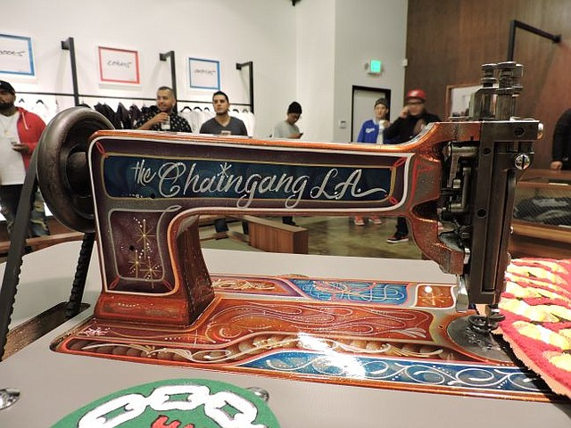 Chain Gang L.A.'s chain-stitch sewing machine on display at Crooks & Castles. The two outfits debuted a collaboration Crooks & Castles X Chain Stitch L.A. on March 20.