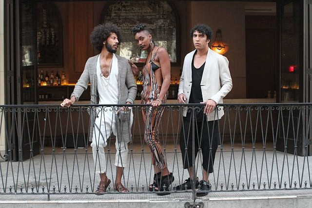 Clade Spring '15 looks modeled by gentlemen on right and left. Photo shot at Coco Laurent during StyleLoftz party on May 9. Photo by Felix Salzman/LookBookLA.