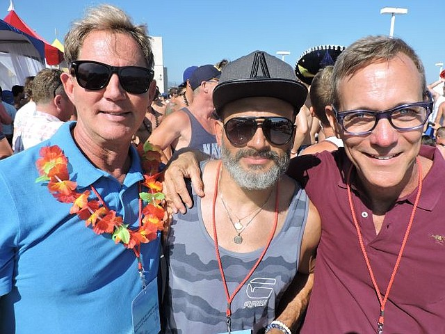 From left, LASC Chiefs Mike McGinley, Alfredo Izaguirre and Don Zuidema at LASC's Pride party.