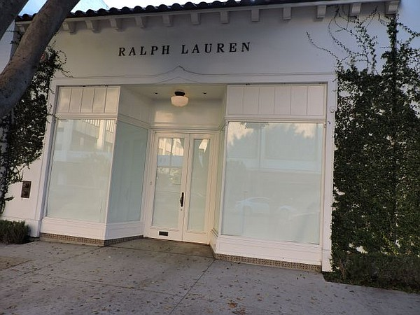 Exterior of shuttered Ralph Lauren boutique on Robertson Boulevard.