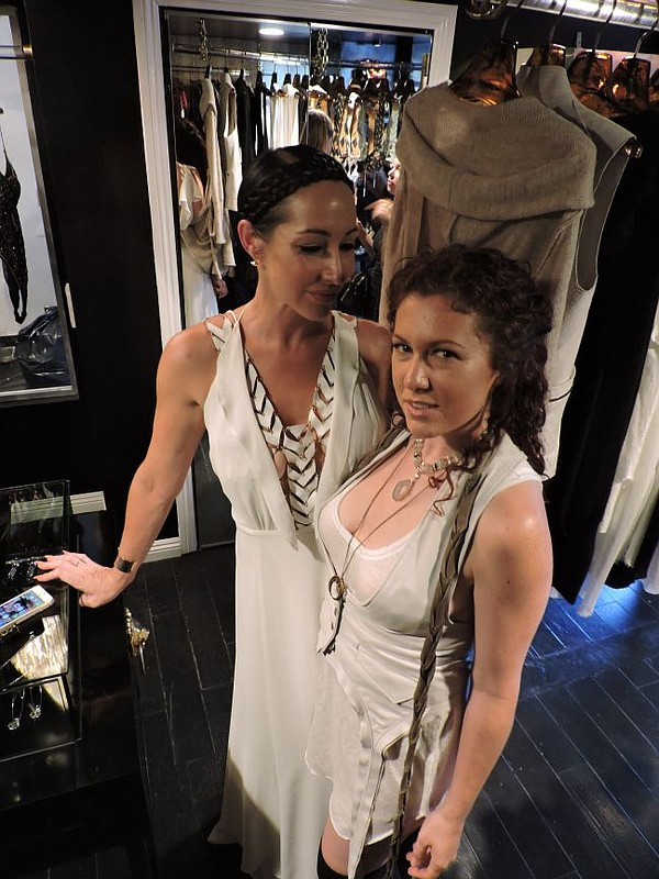 Niki Schwan, left, and Maya Reynolds of Clade at the Niki Schwan boutique on July 17.