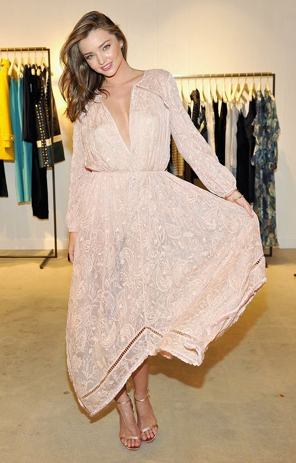 Miranda Kerr at party for Zimmermann flagship on Melrose Place. Photo by Donato Sardella/Getty Images for Zimmermann.