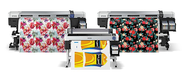 NEW RELEASES: Epson is introducing three new SureColor F-series sublimation printers. The F9200, a dual printhead, 64-inch-width printer; the F7200, a single-printhead version of the 64-inch-width printer; and the F6200, a 44-inch-width model.