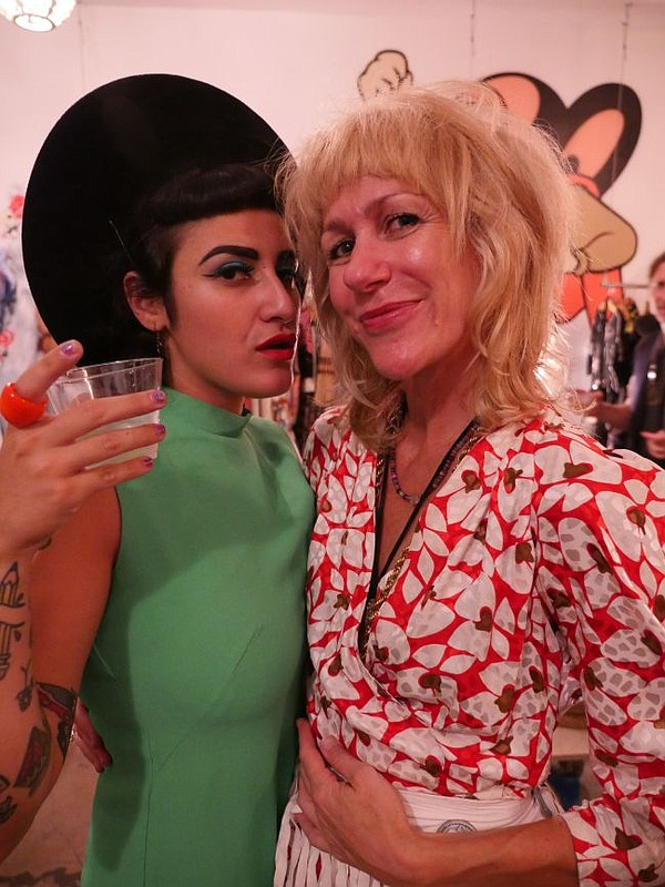 In Heroes We Trust founder Neely Shearer, right, with fashion provocateur The Color Candice. Her instragram is @flamingovintage.