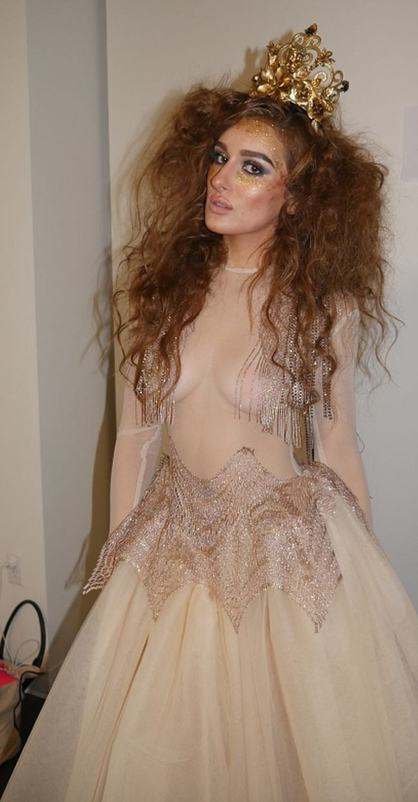 Molly Eskam in Adolfo Sanchez, backstage at Style Fashion Week.