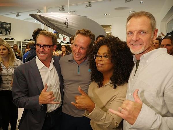 The big Kahunas/designers and investors of Laird - from left Erik Logan, William Cawley, Oprah Winfrey and Tim Garrett.