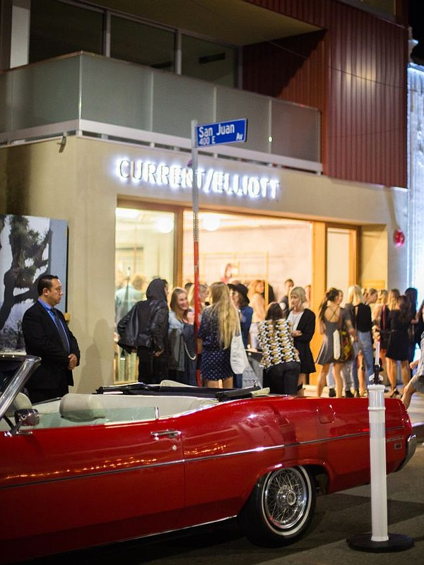Exterior of Current/Elliott boutique in Venice. In foreground, a vintage Mustang used to transport party guests from the boutique to a dinner celebrating the store's debut. Photo courtesy of Current/Elliott.