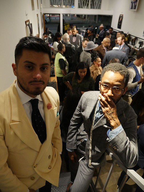 Rodolfo Ramirez of PSC, left, and Rich Freshman of the Rich Freshman brand at the Nov. 5 party for the Los Angeles Menswear Pop-Up Shop.