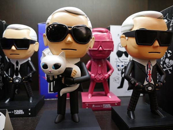 Installation of Tokidoki's Karl Lagerfeld vinyl toys at the brand's 10th anniversary party.