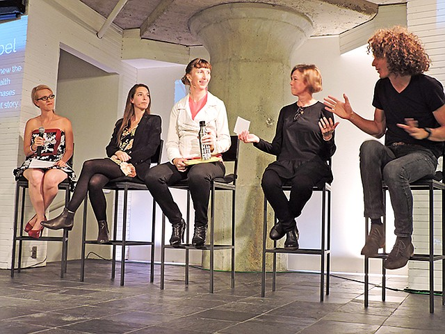 "TALKING SUSTAINABILITY: Moderator Taryn Hipwell, left, with panelists Kathleen Talbot, with Reformation; Susanna Schick, with Sustainable Fashion LA; Shona Quinn, with Eileen Fisher; and ""The True Cost"" filmmaker Andrew Morgan"