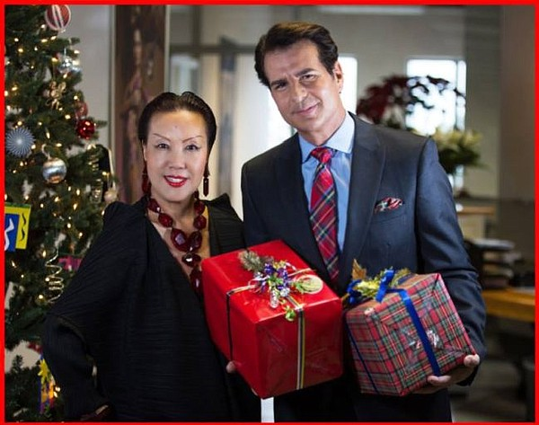 Sue Wong, left, and Vincent de Paul, who plays James Bennett Foxworth in Beverly Hills Christmas. Photos courtesy of Beverly Hills Christmas.
