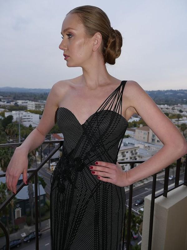 The model Olga in a Nicolas Felizola gown. Four Seasons Hotel, Beverly Hills on Jan. 9.