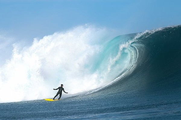 Surfing in a Patagonia neoprene-free suit. Image courtesy Patagonia.
