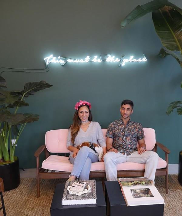Jasmin and Cameron Larian at their Cult Gaia pop-up shop.