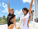 MIAMI BEACH, FL - JULY 16:  Models walk the runway at the Revel Rey 2017 Collection at SwimMiami - Runway at W South Beach on July 16, 2016 in Miami Beach, Florida.  (Photo by Sergi Alexander/Getty Images for Revel Rey)
