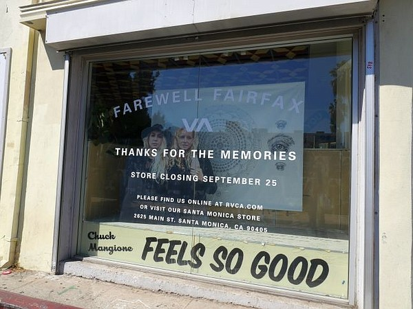 RVCA store window on the corner of Rosewood and Fairfax in Los Angeles.