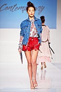 WAYF top and short, Signature 8 jacket, Be Mine NYC clutch