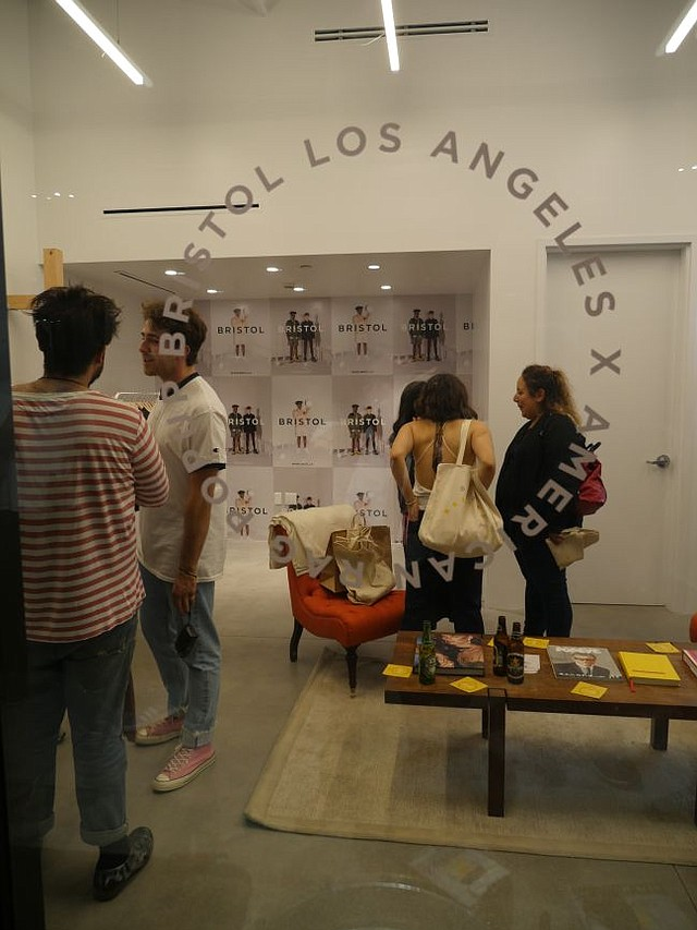 Window of the Bristol Los Angeles pop-up shop, night of the boutique's Sept. 30 debut.