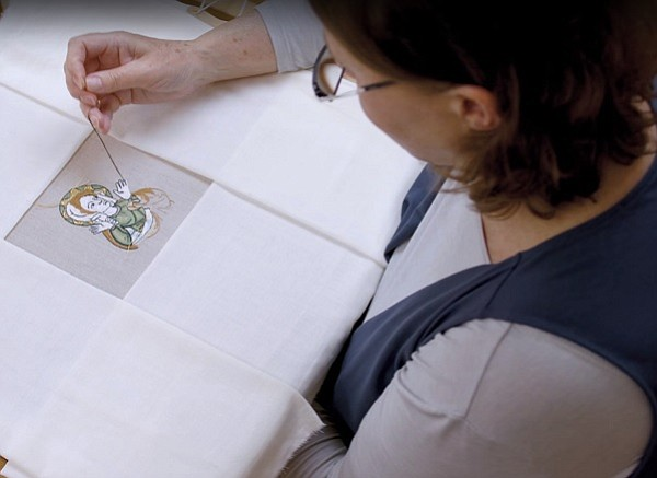 "Embroiderer Rosie Taylor-Davies recreates a portion of a 14th-century embroidered design for a film made for the  ""Opus Anglicanum: Masterpieces of English Medieval Embroidery"" exhibition at London's Victoria & Albert Museum."