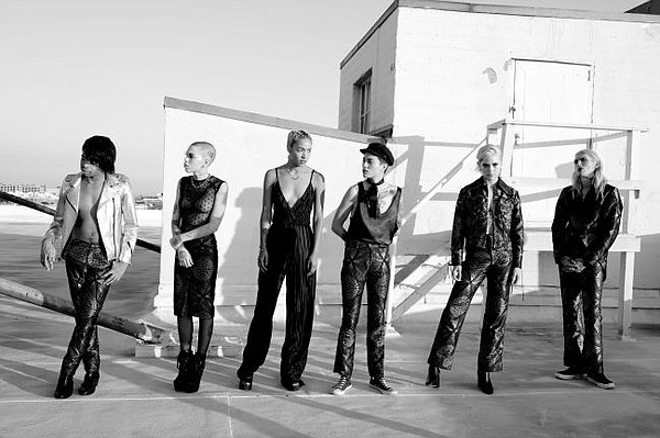 Sav Noir's Band on Tour looks. Photo by Liz Abrams, hairstyling by Luxegroup, makeup by Chic Studios LA.