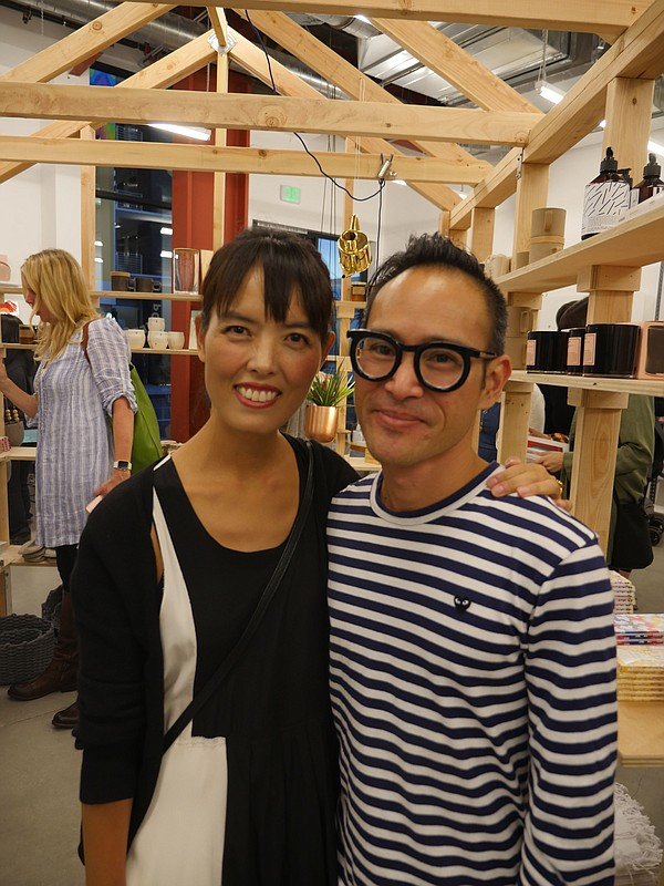 Poketo co-founders Angie Myung, left, and Ted Vadakan at the Nov. 5 debut of their brand's third flagship Poketo store.