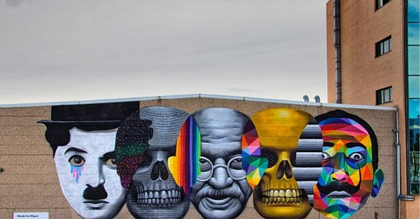 Mural by street artist Okuda, who was portrayed in book In Heroes We Trust: Street Artists and Their Heroes. Image via Palibex.com
