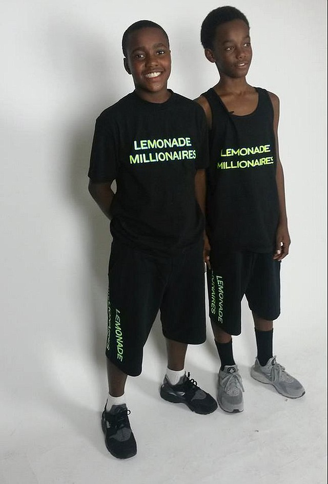 Lemonade Millionaires Sean Raven and Turon Adolphus, wearing their brand's T-shirts and sweats. Images courtesy of Lemonade Millionaires.