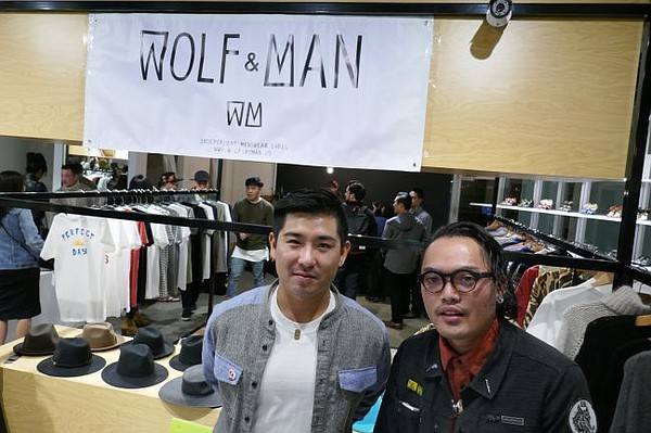 Brian Chan, left, and Sean Andrei B of Wolf & Man at the Dec. 2 party for the brand's pop-up shop at the Hue boutique.