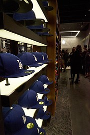 Dodger cap display at New Era D-Lab store. Photo by Andrew McClees. b924321b0710