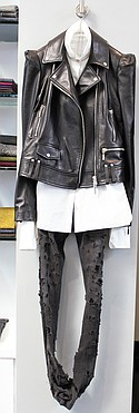 Plein Sud leather jacket $2,500, Nostra Santissima white shirt $795, Fagassant denim pants $900