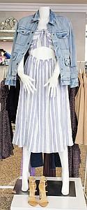 LoveShackFancy dress $295, Hidden Denim jacket $215