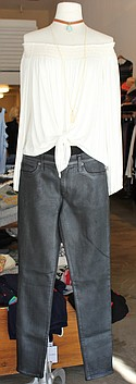 Bailey44 off-the-shoulder top $138, Hudson coated jeans $209