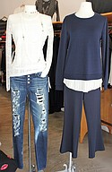 Bailey44 top $198, Hudson super-skinny jeans $225, necklaces $164 and $98; Bailey44 top $168 and bottom $138
