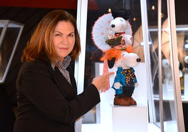 Colleen Atwood at Snoopy & Belle in Fashion exhibit at Beverly Center. Picture courtesy of Beverly Center.