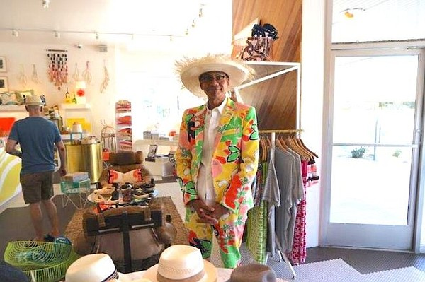 Tony Jackson, a stylist at Mr. Turk, made the lights technicolor with this Turk suit. Photo courtesy of Brooklyn Hat Co.