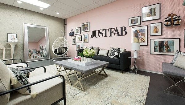 A look at recently completed brand room at JustFab's headquarters. Image courtesy of Laurel & Wolf.