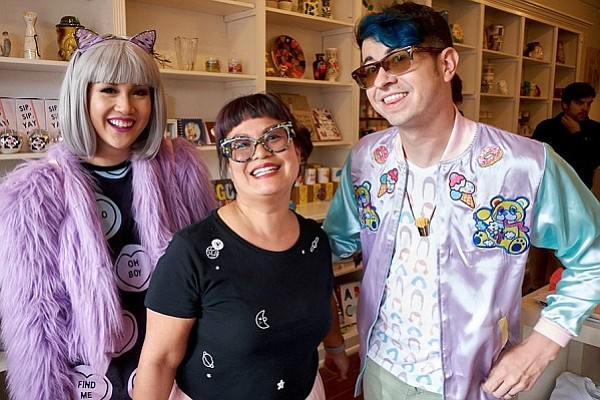 Leanna Lin, owner of Leanna Lin's Wonderland (center) with Chrissa Sparkles, designer and artist, and Jon Brence, product/game designer