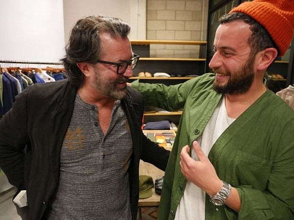 Billy Reid, left, and Josh Peskowitz at debut for Billy Reid Made-to-Measure pop-up on May 11.